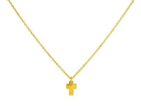 18k Gold Mini Cross Necklace