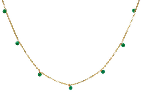 Golden Mini Emerald Stone Necklace