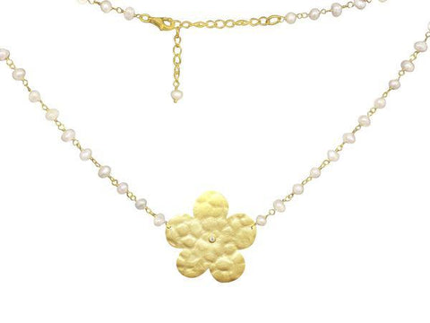 Signature Flowers & Pearls Necklace, 15.5""