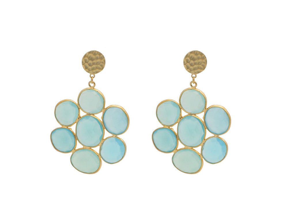 Stunning dangling earrings with a mosaic full of natural blue chalcedony stones