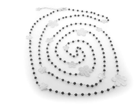 "Fronay Hammered Flowers & Onyx Necklace, 60"" - Fronay Collection"