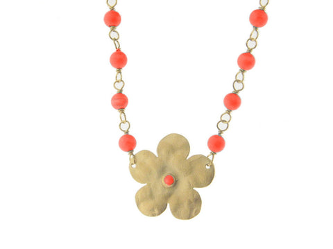 Hammered Flower & Coral Choker Necklace