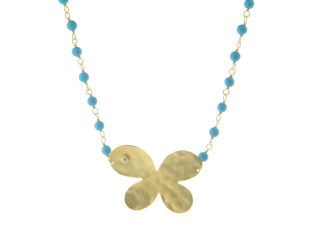 Hammered Butterfly & Turquoises Necklace - Fronay Collection