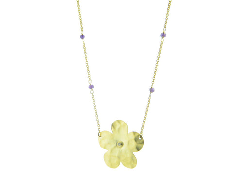 Hammered Flower & Amethyst Necklace