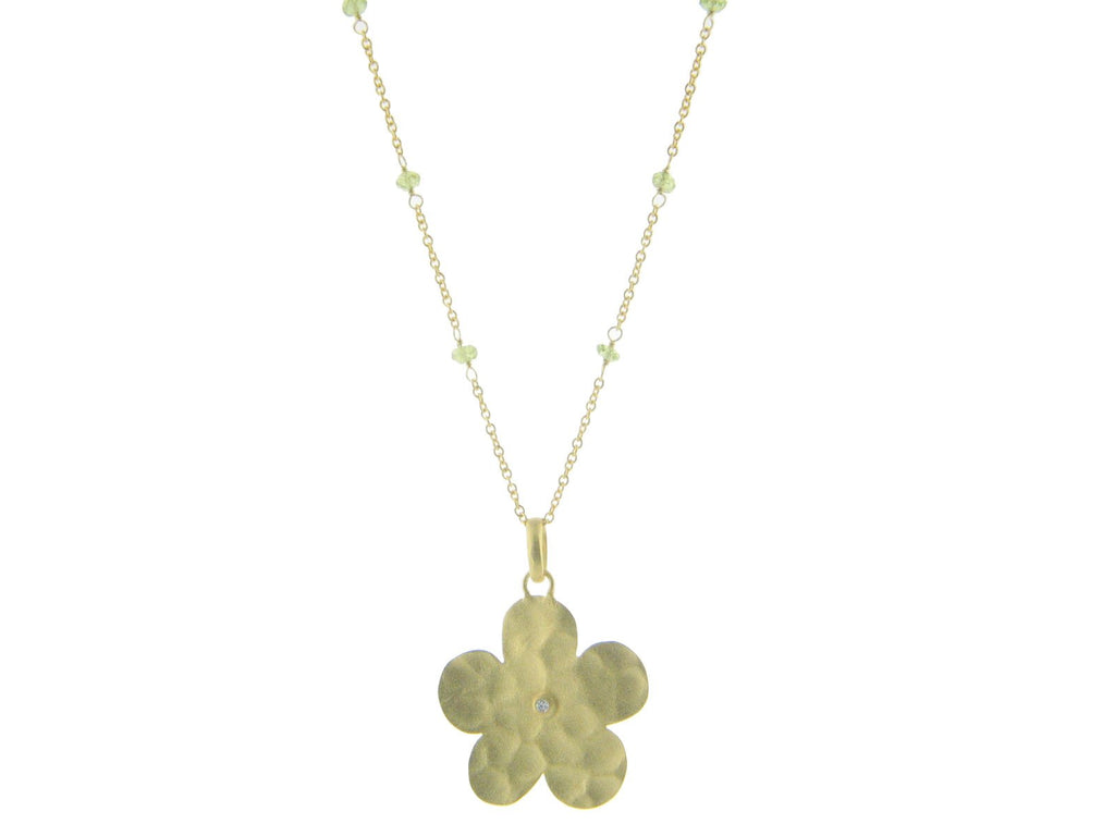 Hammered Flower & Peridot Necklace