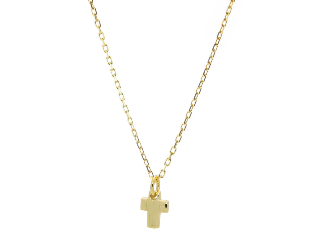 "Mini Cross Pendant Necklace dipped in Gold, Length: 16"" + Extender"
