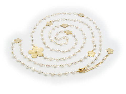 Aphrodite Golden Flower's & Pearls Necklace