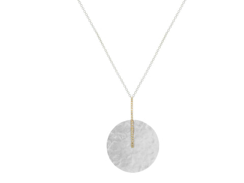 Hammered Disc & CZ Bar Necklace - Fronay Collection