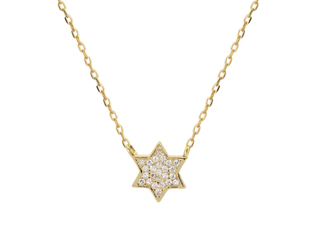 Mini Sparkling Gold Star of David Necklace