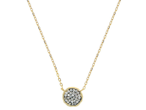 Hammered CZ Disc Necklace - Fronay Collection