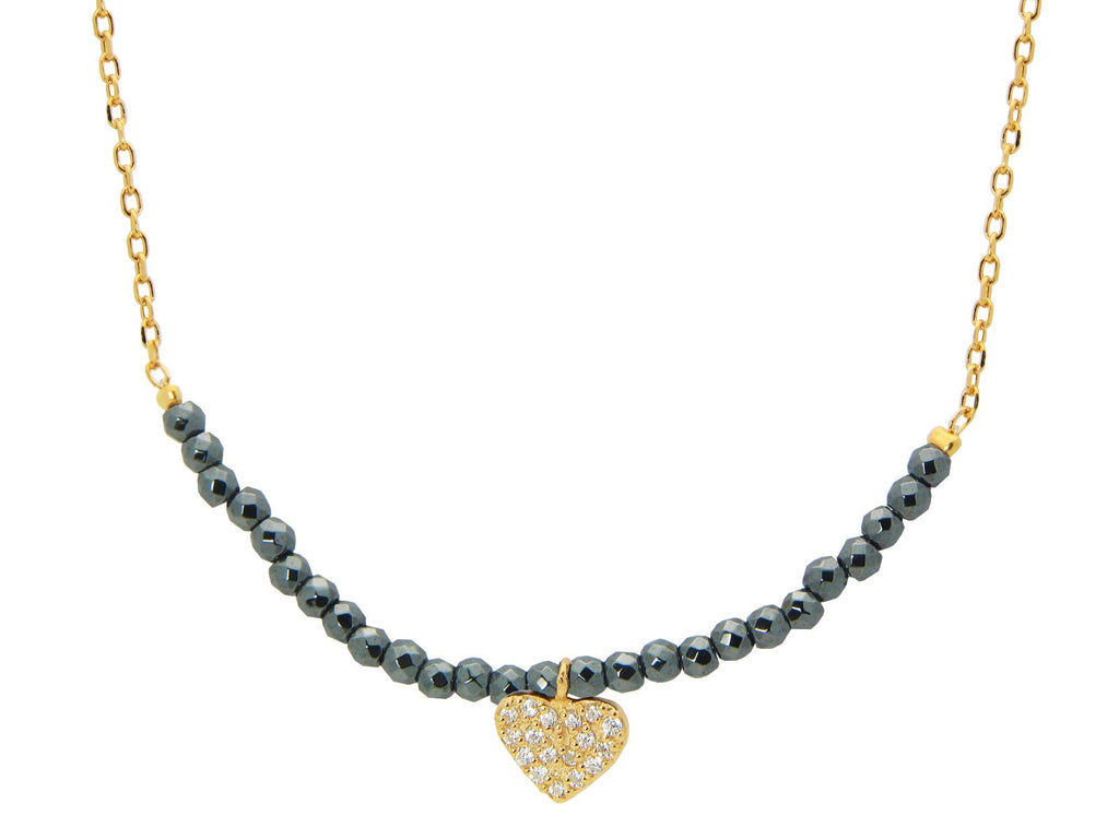 Pyrite Stone Golden Heart Necklace