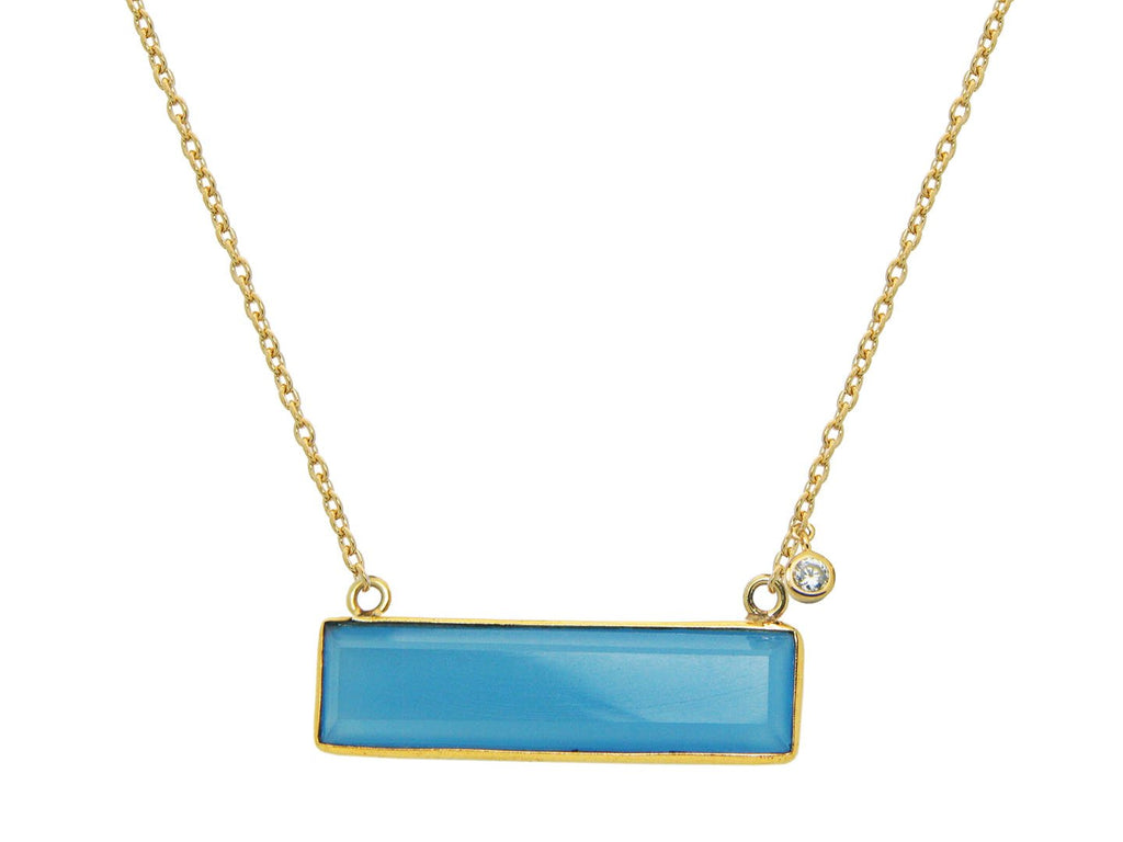 Blue Jade Slice Necklace - Fronay Collection