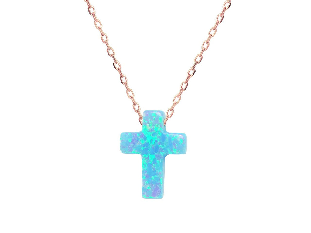 "Fronay Co, Mini Opal Cross Necklace, 15"" + 2"" ext"