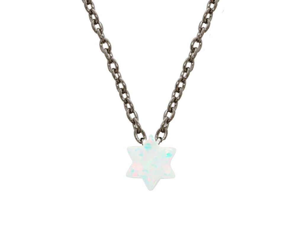 "A delicate mini opal stone Star of David protector pendant necklace, set in Black rhodium plated sterling silver. 15"" long with a 2"" extension."