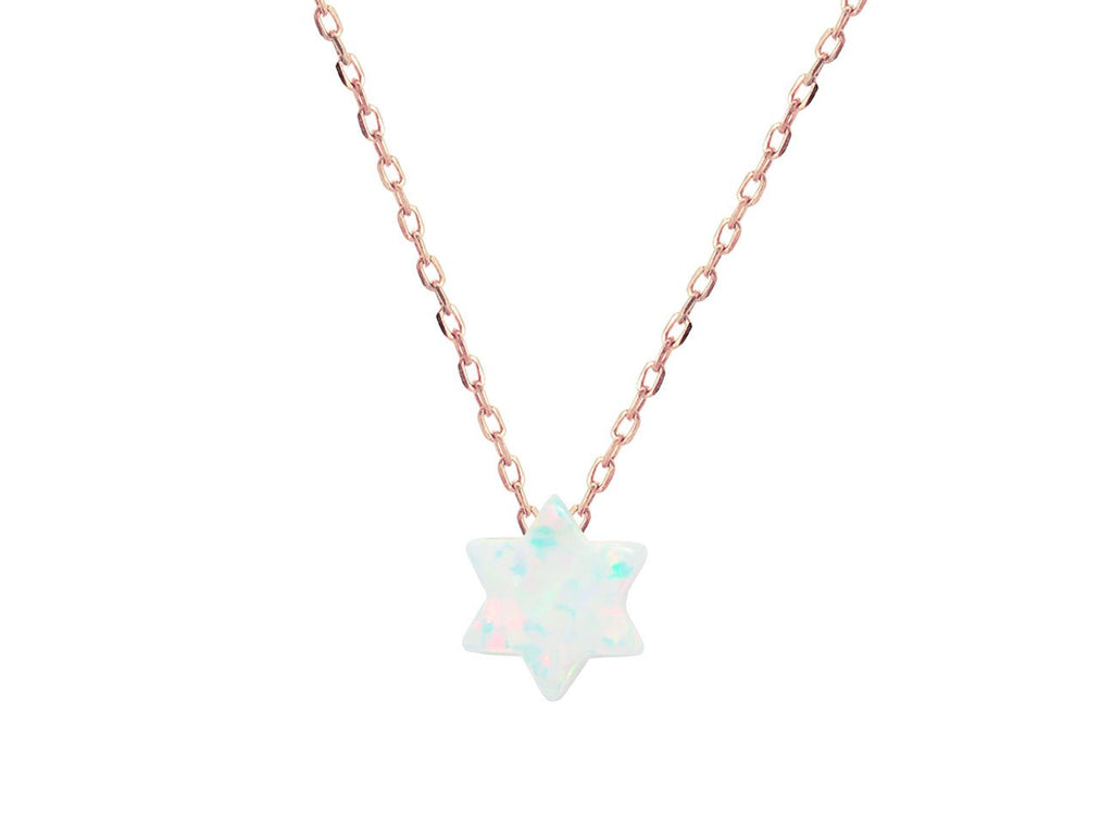 Rose Mini Created Opal Star of David Necklace