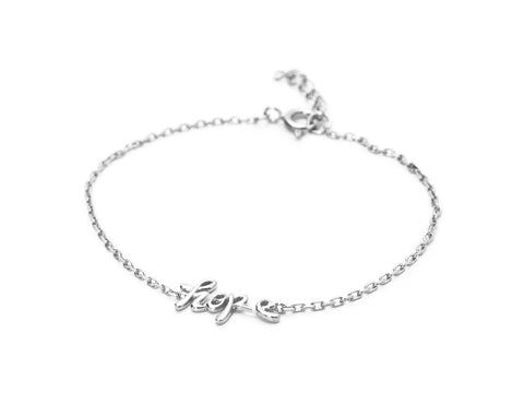925 Sterling Silver Cursive Hope Charm Bracelet by Fronay Collection