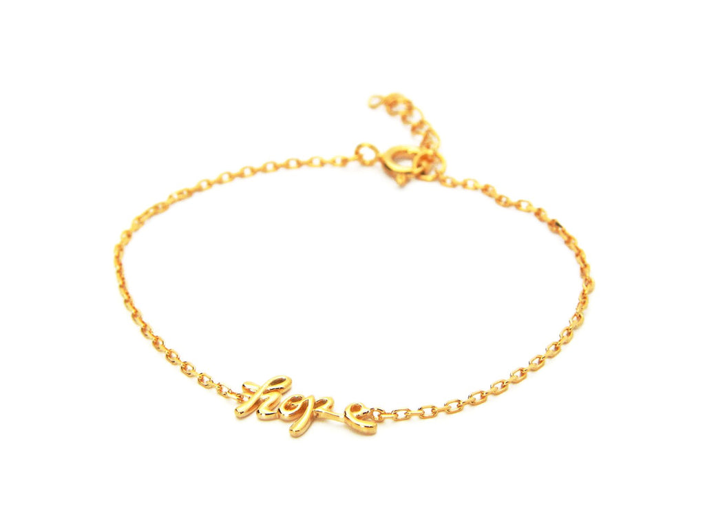 "925 Sterling Silver Cursive Hope Charm Bracelet dipped in Gold, 6"" Long"