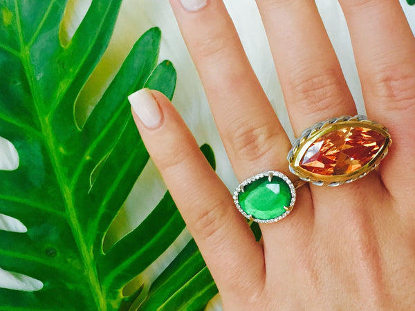Green Eminence Oval Ring - Fronay Collection