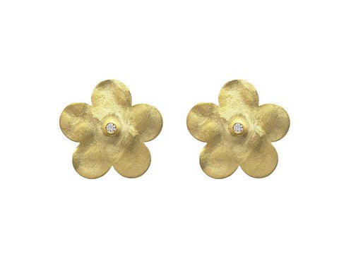 Golden Hammered Flower Studs in Sterling Silver, 15mm