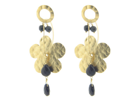 , Gold Hammered Flower & Black Crystals Earrings