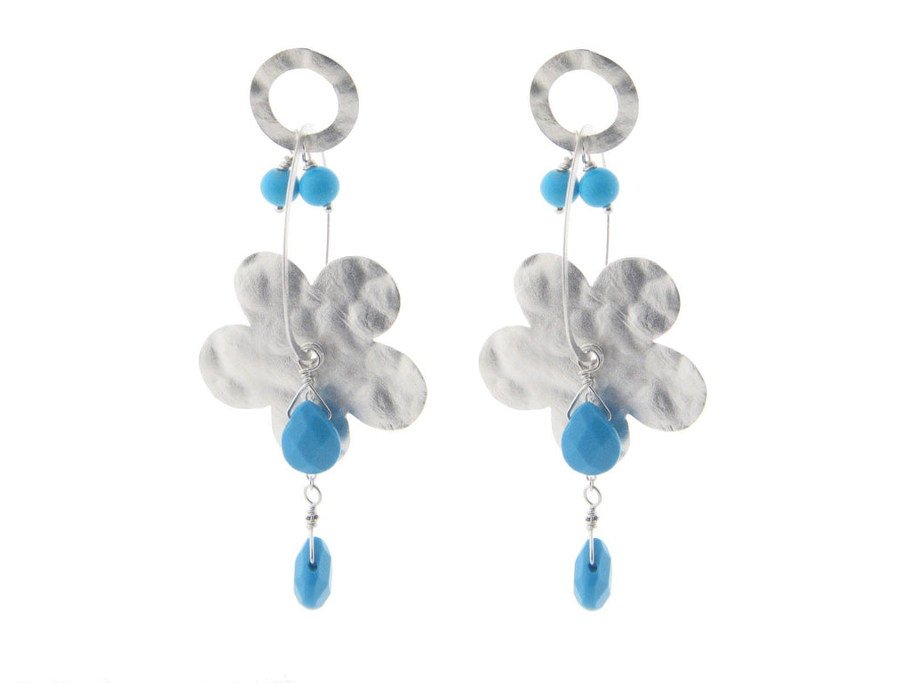 Sterling Silver Hammered Flower & Turquoise Stones Earrings