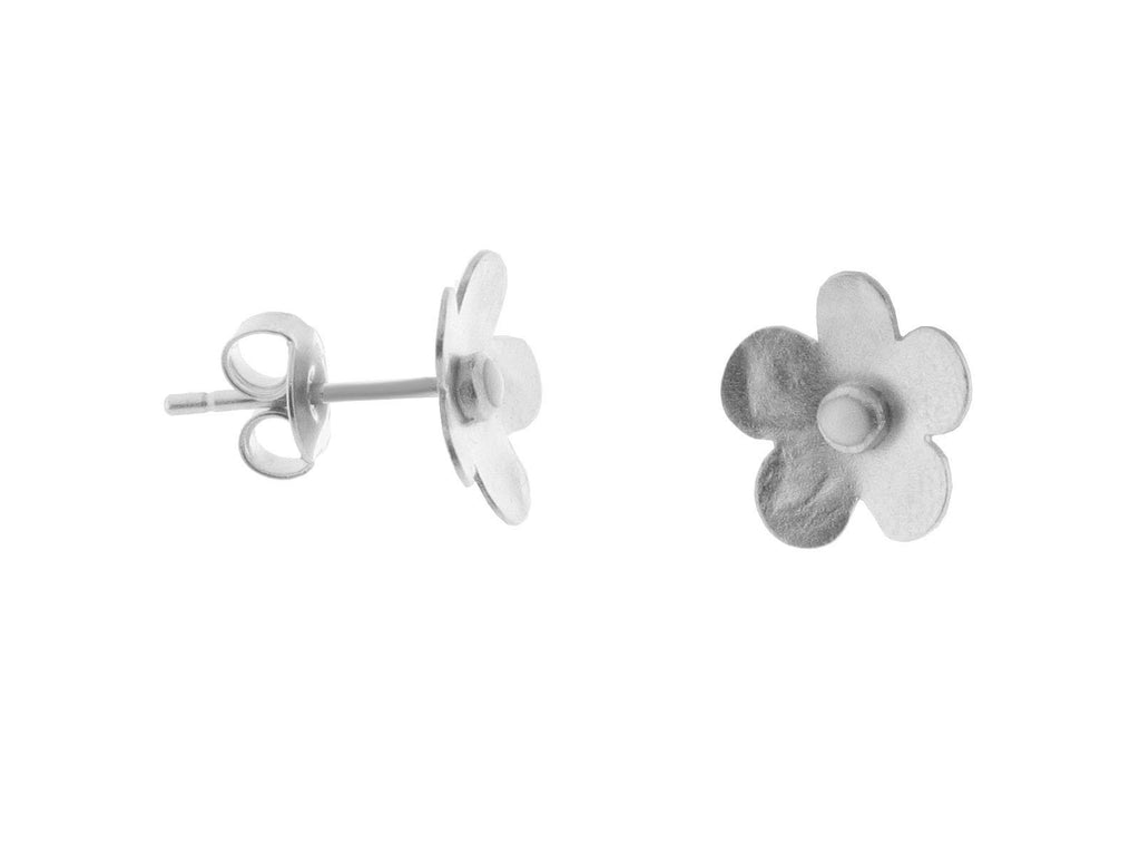 Sterling Silver Hammered Flower Studs Earrings, 10mm