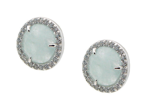 Silver Rhodium Plated Aqua Studs Earrings  8mm  Cz Around
