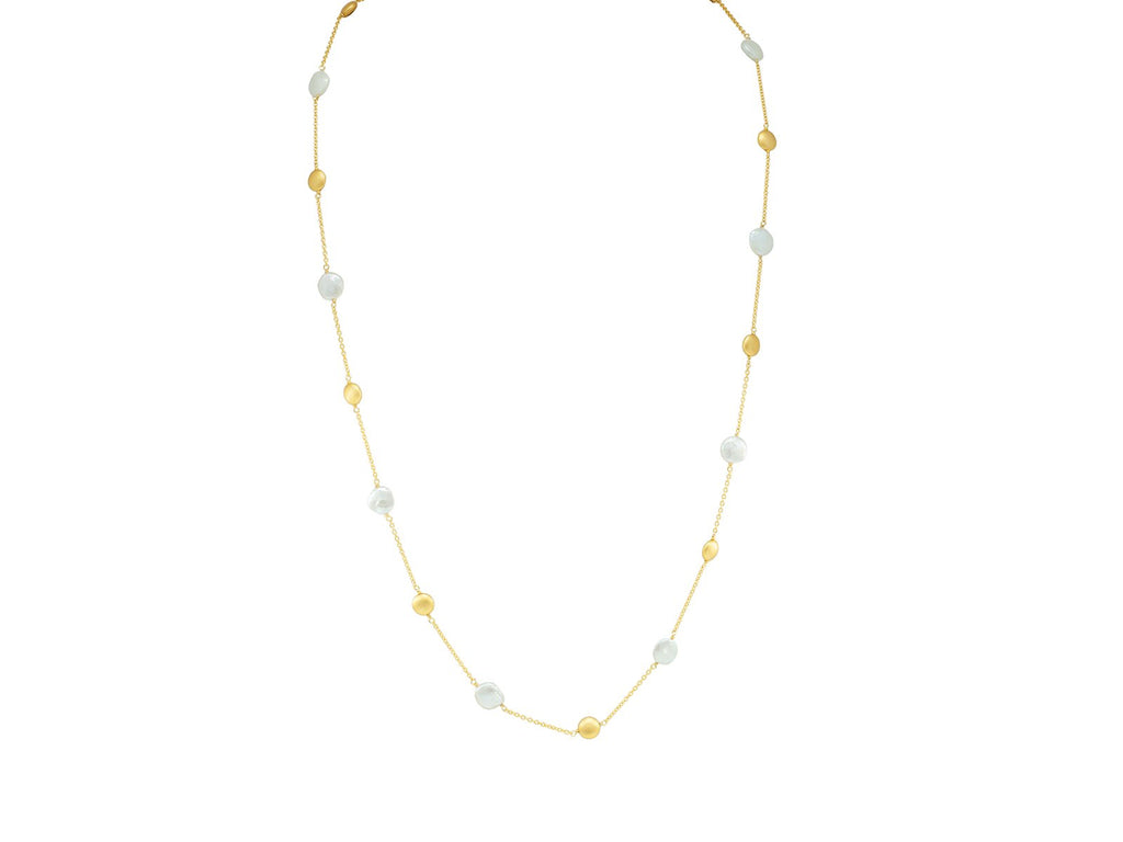 Gold Coin Pearls Necklace