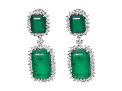 Double Emerald Doublet Gala Earrings