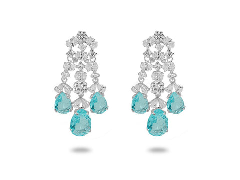 Chandelier Paraiba CZ Omega Clip Earrings