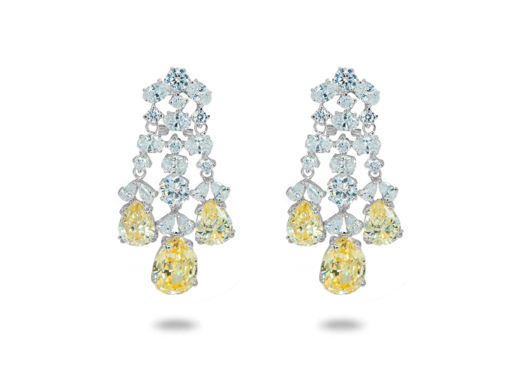 Cubic zirconia chandelier earrings canary cubic zirconia chandelier earrings arubaitofo Images