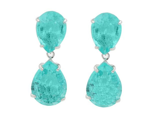 Small Paraiba Topaz Omega Clasp Drop Earrings | Sterling Silver