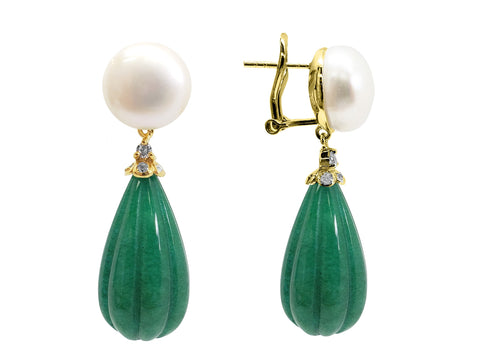 Mermaid Pearl & Jade Drop Earrings