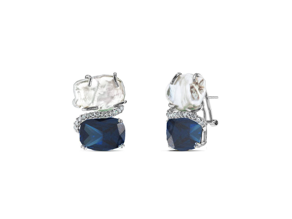 Royal CZ Line Keishi Pearl & Lab Sapphire Stud Earrings