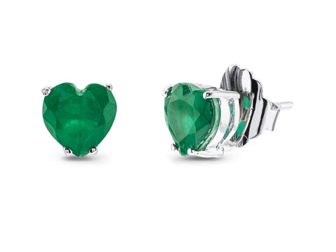 Emerald Quartz Doublet Heart Stud Earrings