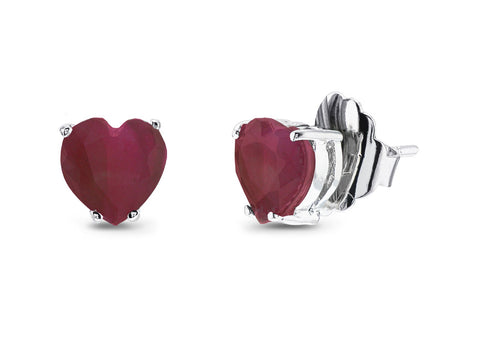 Lab Ruby Heart Stud Earrings
