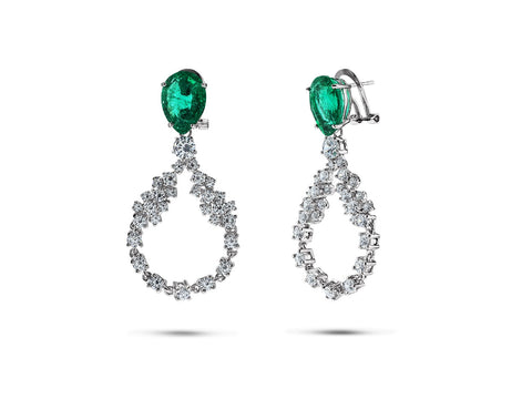 FRONAY Sterling Silver Simulated Emerald Bridal Drop Halo CZ Earrings