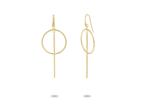 Golden Geometric Dangling Earrings
