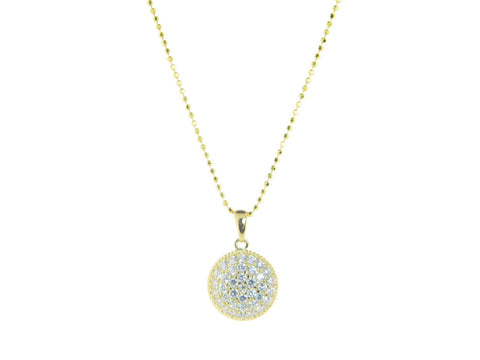 18k Gold Plated Sterling SIlver Brilliant Circle Pendant Necklace, 16""