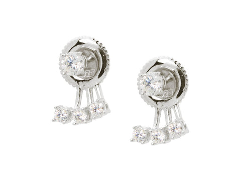 Fronay Co .925 Sterling Silver CZ Stud and Sparkling Cuff Earring