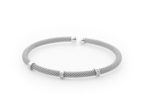 .925 Sterling Silver Diamond Bangle Mesh Bracelet ( 0.10 cttw)