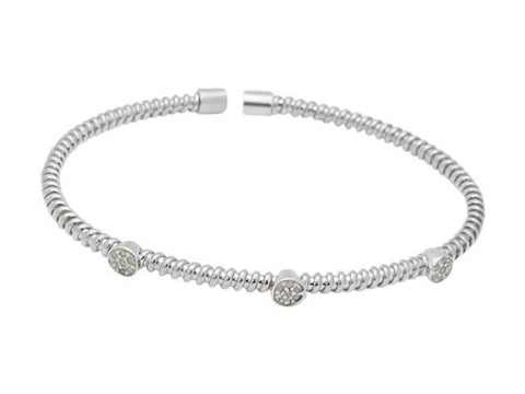 Fronay Co .925 Sterling Silver Twisted Diamond Station Bangle Bracelet (.21Ctts, Color K-L, Clarity I2-I3)
