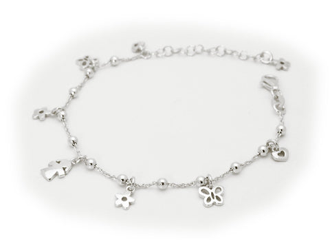 Beckids Charm Bracelet Sterling Silver  Girl,  Flowers and Butterflys
