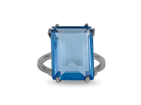 Emerald Cut Synthetic Blue Topaz Crystal Ring in Sterling Silver