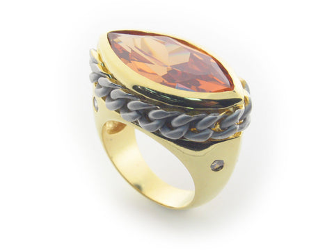 Cuban Link Citrine Crystal Statement Ring | 18k Gold Plated Fine Brass by Fronay Collection