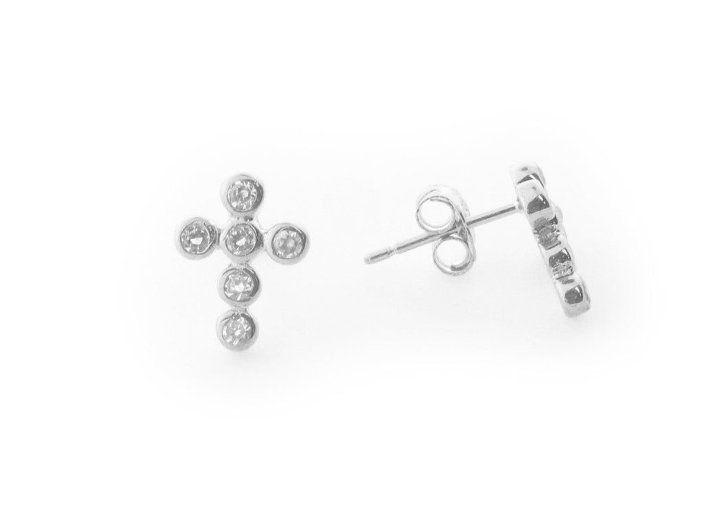 Mini Cubic Zirconia Crucifix Cross Stud Earrings