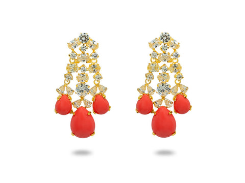 Canary Cubic Zirconia & Coral Chandelier Earrings