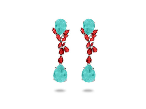 Colores Simulated Ruby & Paraiba Omega Clip Earrings