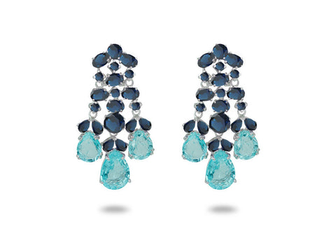 Sapphire Paraiba Cubic Zirconia Chandelier Earrings