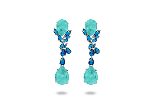 Colores Simulated Sapphire & Paraiba Omega Clip Earrings